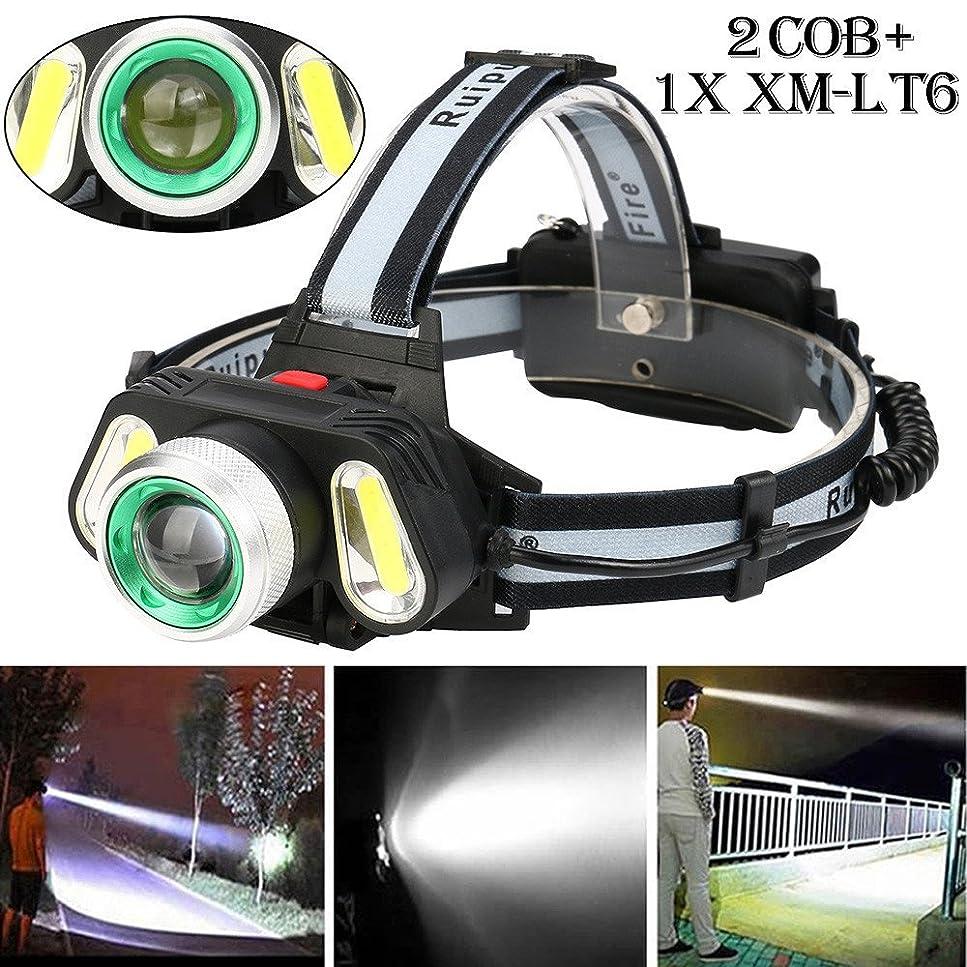 フォーマット遠え有能なヘッドライト TangQI LED 超強力 軽量 アウトドア ヘッドランプ セット 30000 Lm 5x XM-L T6 ズーム可能 充電式 2 x 18650バッテリー3.7v 4モード 作業 夜釣り 工事 自転車 船検用品 停電対応 高品質
