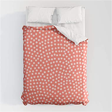 """Living Coral Samekomon Spring Summer by Beautiful Homes on Cotton Duvet Covers - Queen: 88"""" x 88"""""""