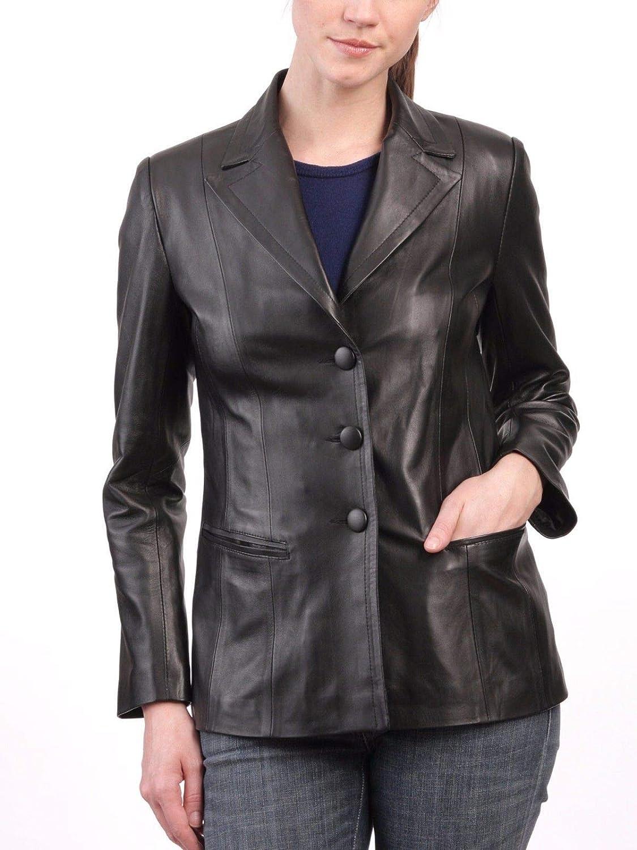 New Womens Lambskin Daily bargain sale Leather Max 57% OFF Slim M Black Fit Jacket Coat