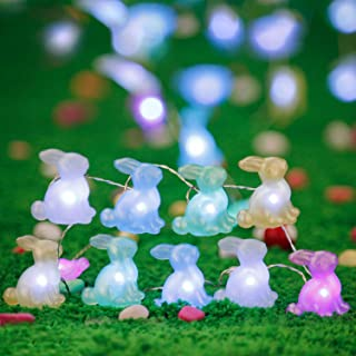 Impress Life Easter Rabbit Bunny Lights, Festive String Lights 5 Colors Battery Operated with Remote for Indoor Outdoor Pa...