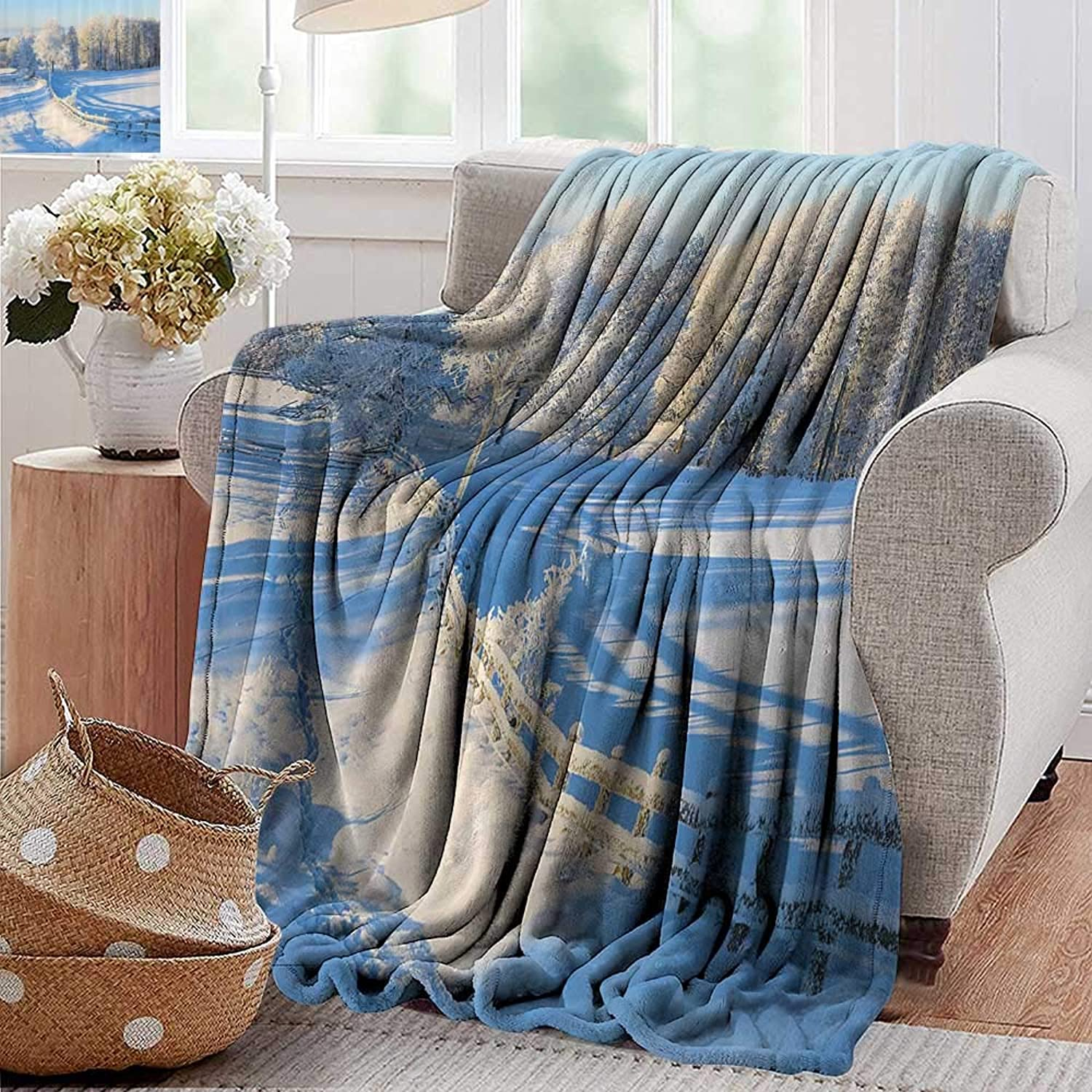 PearlRolan Luxury Flannel Fleece Blanket,Farm House Decor,Winter Snow Valley with Oak Borders Pines Frozen Pastoral High Cold Lands,White bluee,All Season Light Weight Living Room Bedroom 35 x60