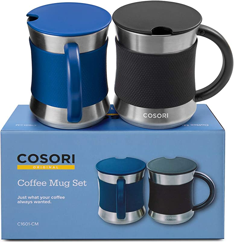 COSORI Coffee Mug With Lids Set Of 2 Stainless Steel Cups With Heat Resistant Handle Slip Resistant Sleeve 17 Oz Best Match W Mug Warmer For Coffee Tea Water Cocoa Milk C1601 CM Black Blue