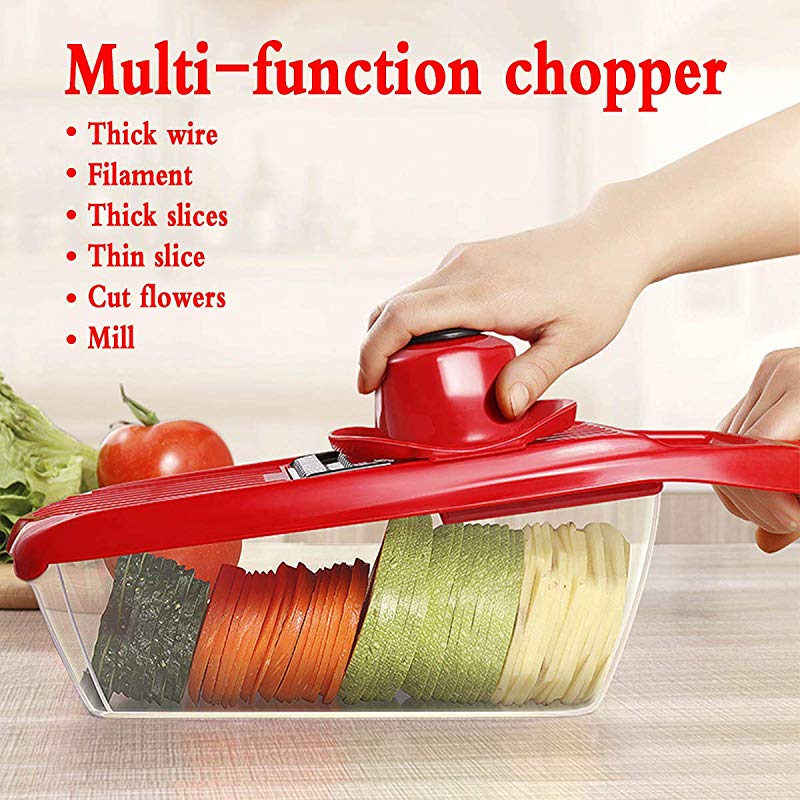 Jisell Multi Function Vegetable Slicer Cutter Fruit Slicer With 6 Blades Peeler For Potato Tomato Carrot Onions Cucumber And Cheese Etc