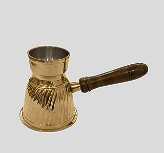 diollo 3.7 Inch Stripes Brass Turkish Greek Arabic Coffee Pot Stovetop Coffee Maker Kahwa Maker Tibetan Mugs 4 Oz Gold