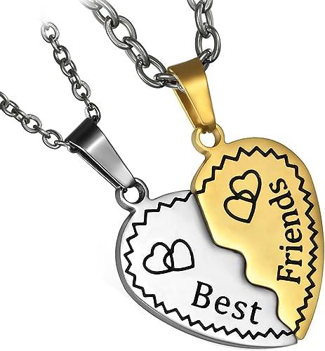 Flongo 2PCs Collier Pendentif d'Amitié Best Friend Coeur Amour Acier Inoxydable Classique Chaîne 55&445.5cm Fantaisie...