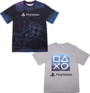 PlayStation Boys Athletic Gamer Top Graphic Tee Shirt 2 Pack (Black/Grey, 14/16)