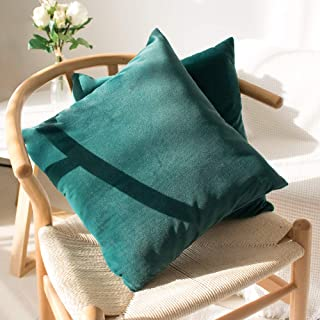 """SweetForest Royal Green Velvet Square Cushion Cover, 2 Pack Luxury Decorative Throw Pillowcase Cover(16"""" x 16"""") Accent Vel..."""