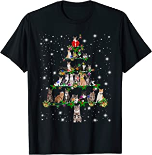 Funny Cats Christmas Tree Tee Ornament Decor Gift T-Shirt