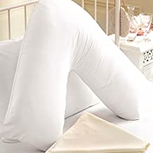 Uzzydeals LTD New Orthopaedic V-Shaped Pillow Nursing Pregnancy Back Support Pillow+Free Cover White