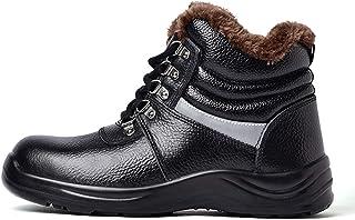 GHqY Zapatos De Protección Laboral para Hombres Y Mujeres, Invierno Engrosados De Punta De Acero Frío Y Cálida, Anti-Apl...