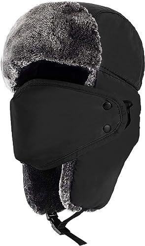 """mysuntown Trapper Hat Winter Hats for Men, Trooper Russian Warm Hat with Ear Flaps, Women Ushanka Bomber Fur Hats 22""""..."""