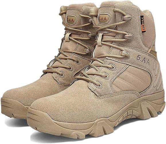 Nihiug Pour des hommes Chaussures de Marche Hommes légers antidérapants Trekking Bottes Militaires en Cachemire Confortable Absorption des Chocs résistant à l'usure