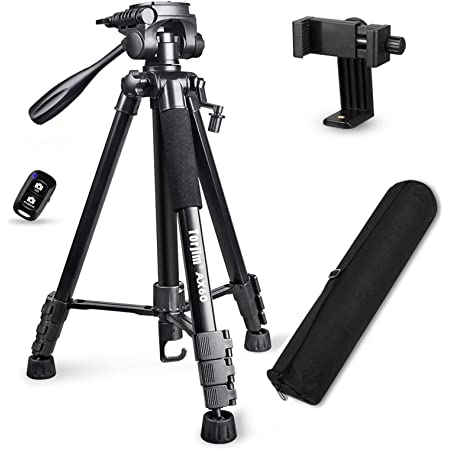 """Torjim 60"""" Camera Tripod with Carry Bag, Lightweight Travel Aluminum Professional Tripod Stand (5kg/11lb Load) with Wireless Remote for DSLR SLR Cameras Compatible with Phone-Black"""