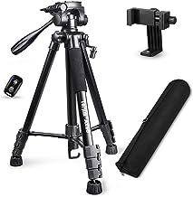 """سه پایه دوربین Torjim 60 """"با کیف حمل ، پایه سه پایه حرفه ای آلومینیوم سبک وزن (بار 5 کیلوگرم / 11 پوند) با ریموت بلوتوث برای دوربین های DSLR SLR سازگار با iPhone"""