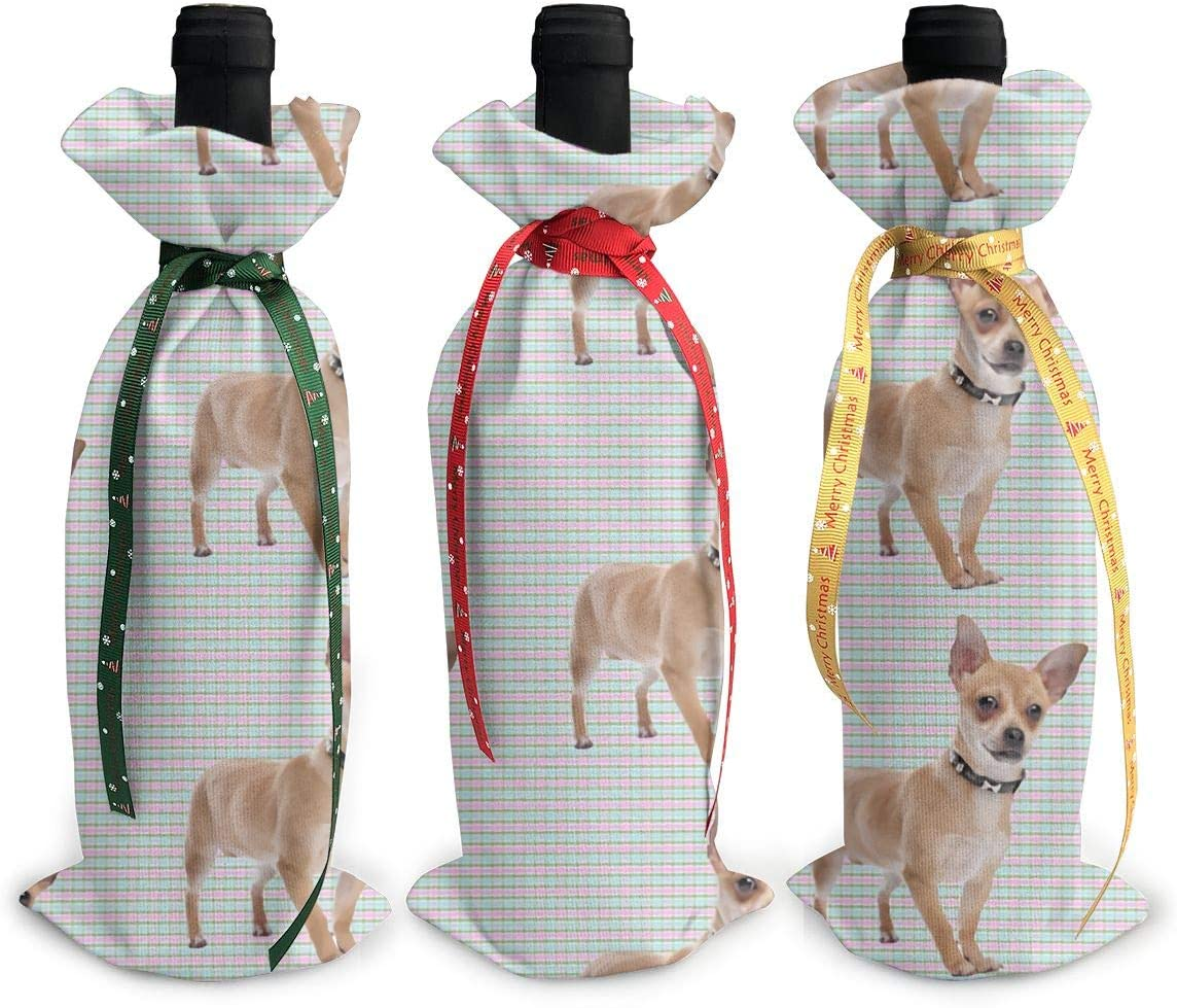 Funny Bombing Branded goods new work Chihuahua Red And Green Christmas Xmas Check3Pcs Wine