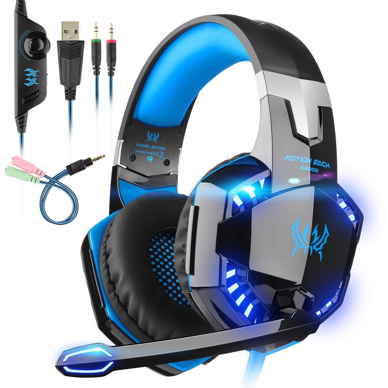 Auriculares Gaming con microfono, Cascos Gaming, Auriculares para Juegos para PS4 / PC/Xbox One/Switch/Tableta/Celular, Headset estereofónico con fantástico LED Luces, micrófono antiruido (G2000-1): Amazon.es: Electrónica