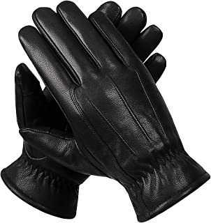 Mens Winter Black Genuine Leather Gloves - Alomidds Touchscreen Outdoor Fleece/Thinsulate Lining Driving Dress Gloves