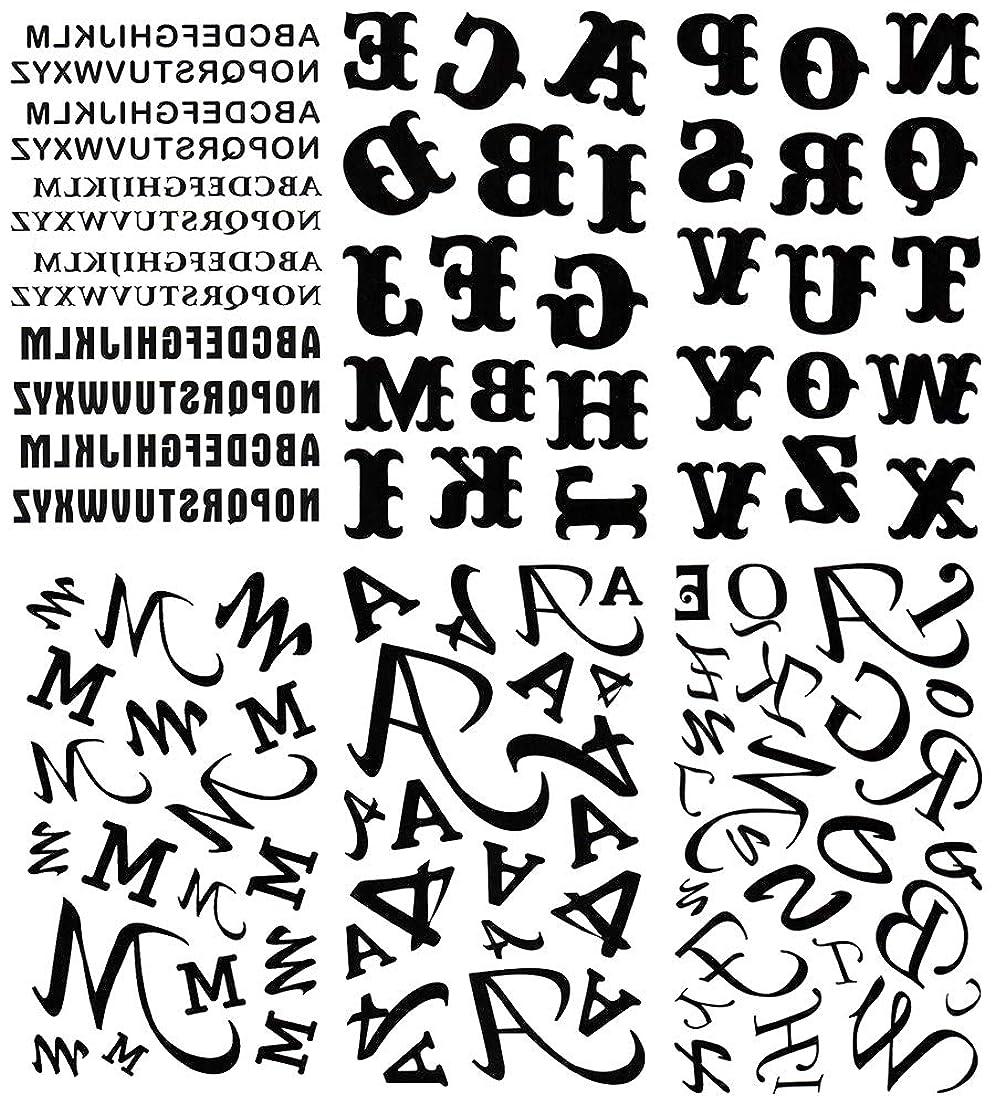 腹痛海処方する[KING HORSE (キングホース)] タトゥーシール 英文字 アルファベット [通常サイズ?6種6枚] hm6035