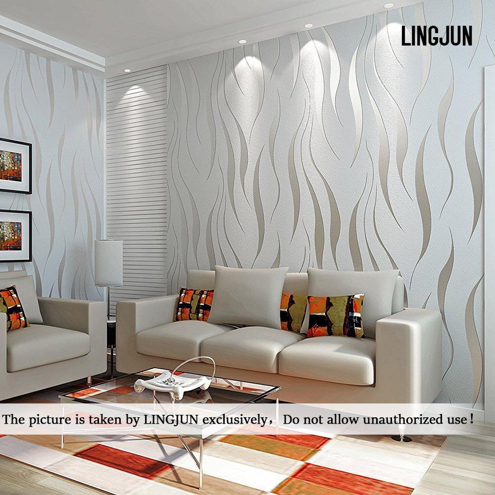 wallpaper for living room amazon co ukmodern minimalist non woven water plant pattern 3d flocking embossed wallpaper roll living room bedroom