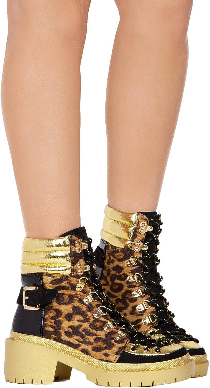 Cape Robbin Summit Lug Sole Lace Up Chunky Heel Platform Ankle Boot Black