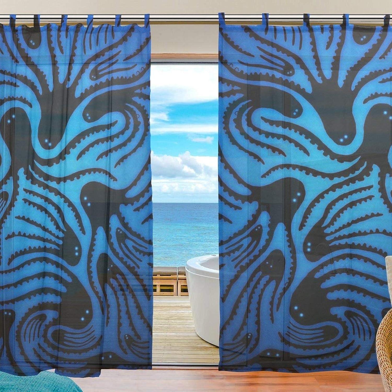 ステップカルシウムチームZOMOY(ユサキ おしゃれ 薄手 柔らかい シェードカーテン紗 ドアカーテン,かわいい メノクラゲ,装飾 窓 部屋 玄関 ベッドルーム 客間用 遮光 カーテン (幅:140cm x丈:210cmx2枚組)