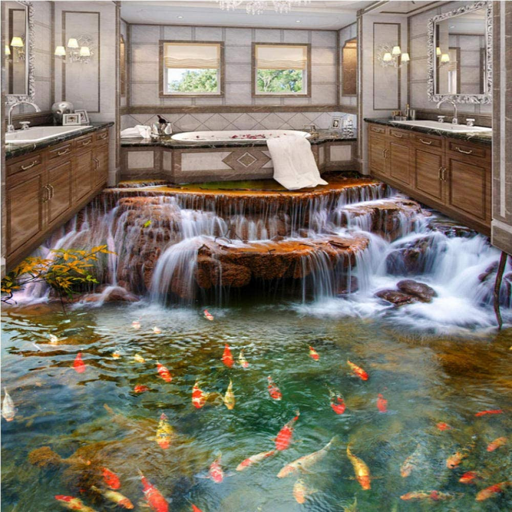 Pbldb Chinese Style Waterfall Carp 3D Floor Kitc Wallpaper security Mural Mail order cheap