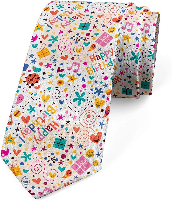 Ambesonne Necktie, Hearts Musical Notes, Dress Tie, 3.7