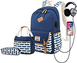 Delapuy Canvas Waterproof Backpack for College Girls Women USB Charging Port Fits 14