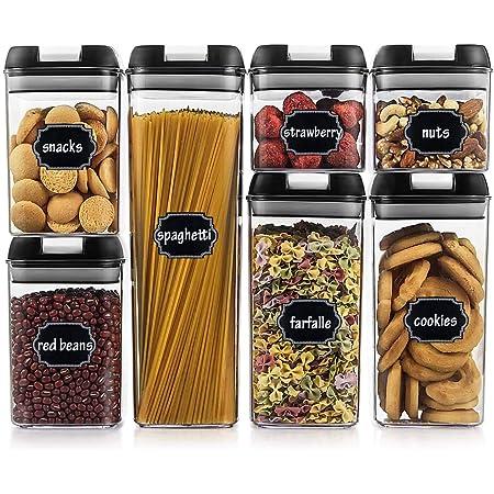 Wildone Lot de 7 boîtes de rangement hermétiques pour céréales et aliments secs avec couvercles faciles à verrouiller, pour la cuisine, l'organisation et le stockage, avec 20 étiquettes et 1 marqueur.