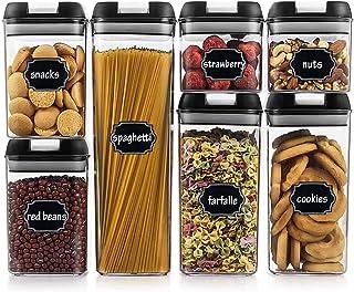 Wildone Lot de 7 boîtes de rangement hermétiques pour céréales et aliments secs avec couvercles faciles à verrouiller, pou...