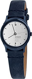 Mondaine Helvetica Classy Wrist Watch for Women (MH1.L1110.LD), Swiss Made, Blue Leather Strap and Stainless Steel Case with Silver Face