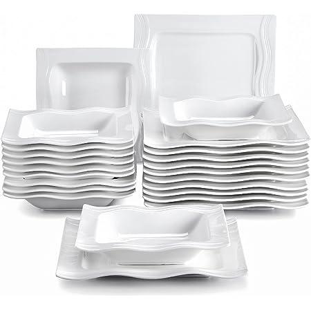 MALACASA, Série Mario, 24pcs Assiettes Plates Porcelaine, 12 Assiettes à Soupe Creuse, 12 Assiettes Plates pour 12 Personnes