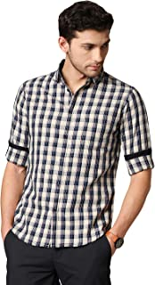Dennis Lingo Men's Checkered Cream Slim Fit Cotton Casual Shirt