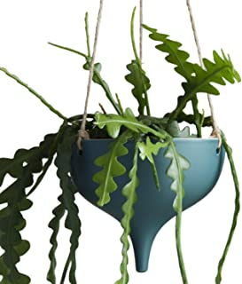 Hanging Ceramic Planter Modern Geometric Design in Green 7.2 Inches Wide with Jute Rope Indoor Decor