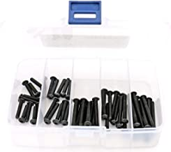 iExcell 50 Pcs M4 x 20mm/25mm/30mm/35mm/40mm Alloy Steel Hex Socket Button Head Cap Screws Kit, Black Oxide Finish, Full Thread