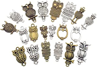 100g Owl Charms Collection - Antique Silver Bronze Mixed Owl Birds Metal Pendants for Jewelry Making DIY Findings (HM35)