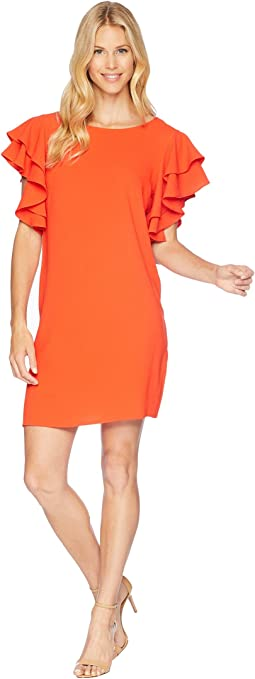30s Crepe Ruffle Sleeve Shift Dress