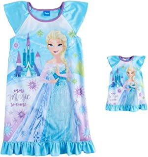 AME Frozen Elsa Size 8 More Magic to Come Satin Nightgown with Doll Gown 3956eab21