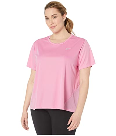 Nike Dry Miler Top Short Sleeve (Size 1X-3X) (Magic Flamingo/Reflective Silver) Women