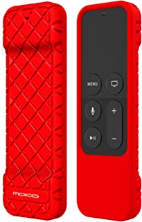 MoKo Silicone Case Compatible with Apple TV 4K/4th Gen Remote, Lightweight Non-Slip-Grip & Secure Protective Cover Compatible with Apple TV 4K Siri Remote Controller - Red