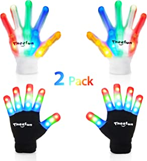 Theefun Led Gloves for Kids, Finger Light Up Flashing Gloves with Multicolor Skeleton LED Gloves for Halloween,, Dance Costumes, Kids Games, Light-up Party. 2 Pair, Small