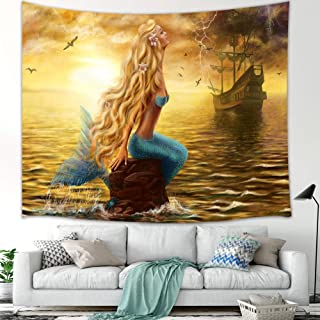 Mermaid Tapestry, Fairytale Girls and Pirate Ship on Ocean at Storm Rain Tapestry Wall Hanging, Fabric Wall Home Decor for Bedroom Living Room Dorm TV Backdrop Beach Blanket, 80X60 in