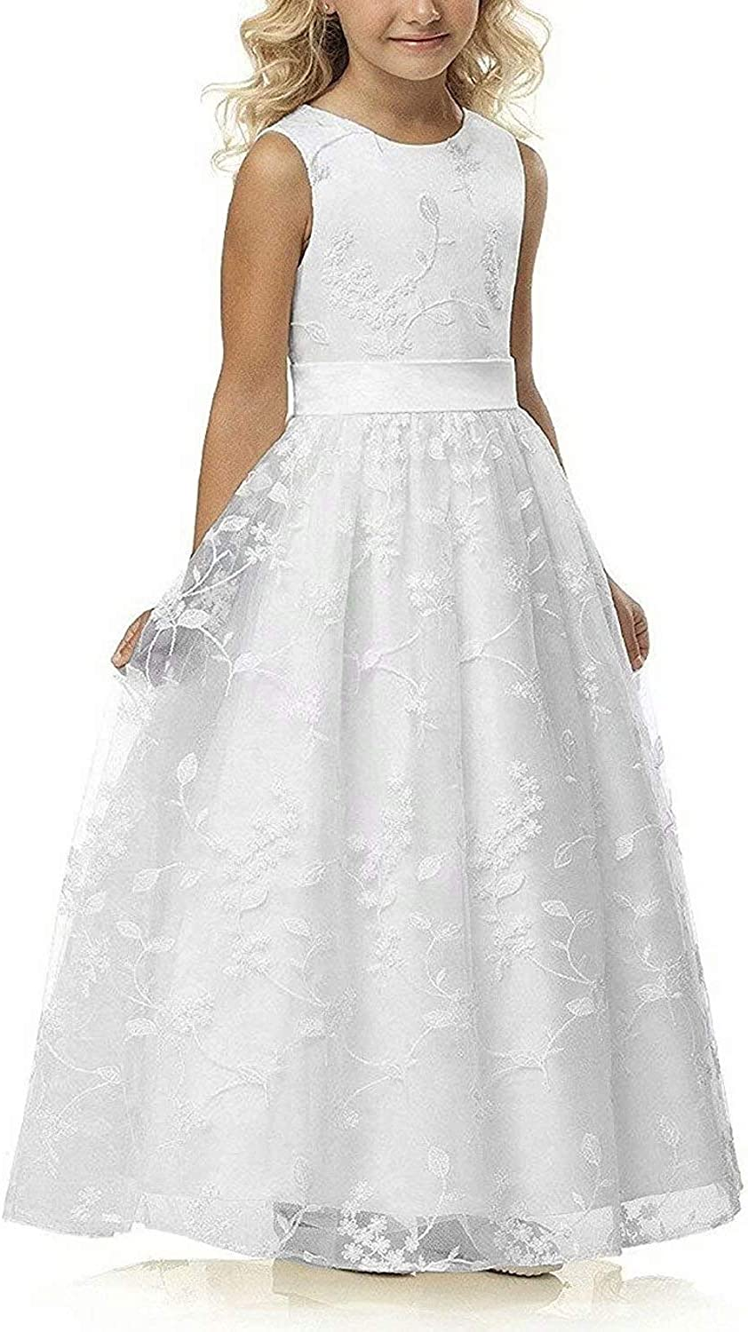 A line Wedding Pageant Lace Flower Girl Dress with Belt 5-15 Year Old