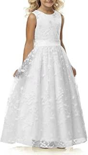 Abaowedding A line Wedding Pageant Lace Flower Girl Dress with Belt 2-12 Year Old