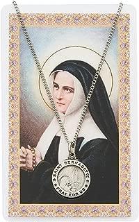 Catholic Necklace, Pewter Silver Round St. Bernadette Medal & 18