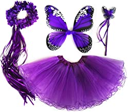 4 pcs Girls Princess Costume Set with Fairy Wings Tutu Wand Crown for Birthday Gifts