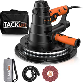 TACKLIFE Drywall Sander, Automatic Vacuum System & LED Light, 12 Pcs Sandpapers and a Carry Bag, 6.7A Electric Drywall Sander with Dust Collection System, 6 Variable Speeds, Detachable Handle PDS03B
