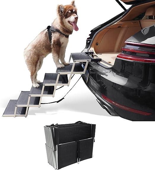 petshug 铝制坚固宠物楼梯,适用于大型犬,折叠轻质狗台阶,增加防滑表面,适用于卡车、汽车、SUV 和高床,便携式梯子坡道支撑高达 200 磅