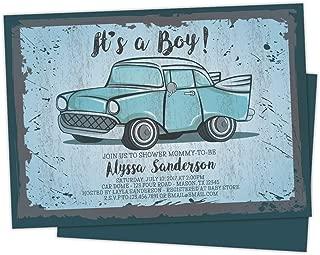 vintage car baby shower invitations