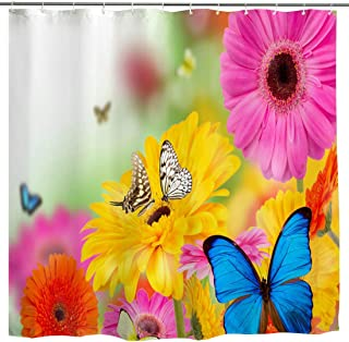 WUBODTI Flower Scenery Shower Curtain, Garden Vibrant Colorful Flowers Butterflies Fabric Bathroom Decoration, Nature Waterproof Fabric Bathroom Accessories Set, Yellow Pink Blue, 72 inches